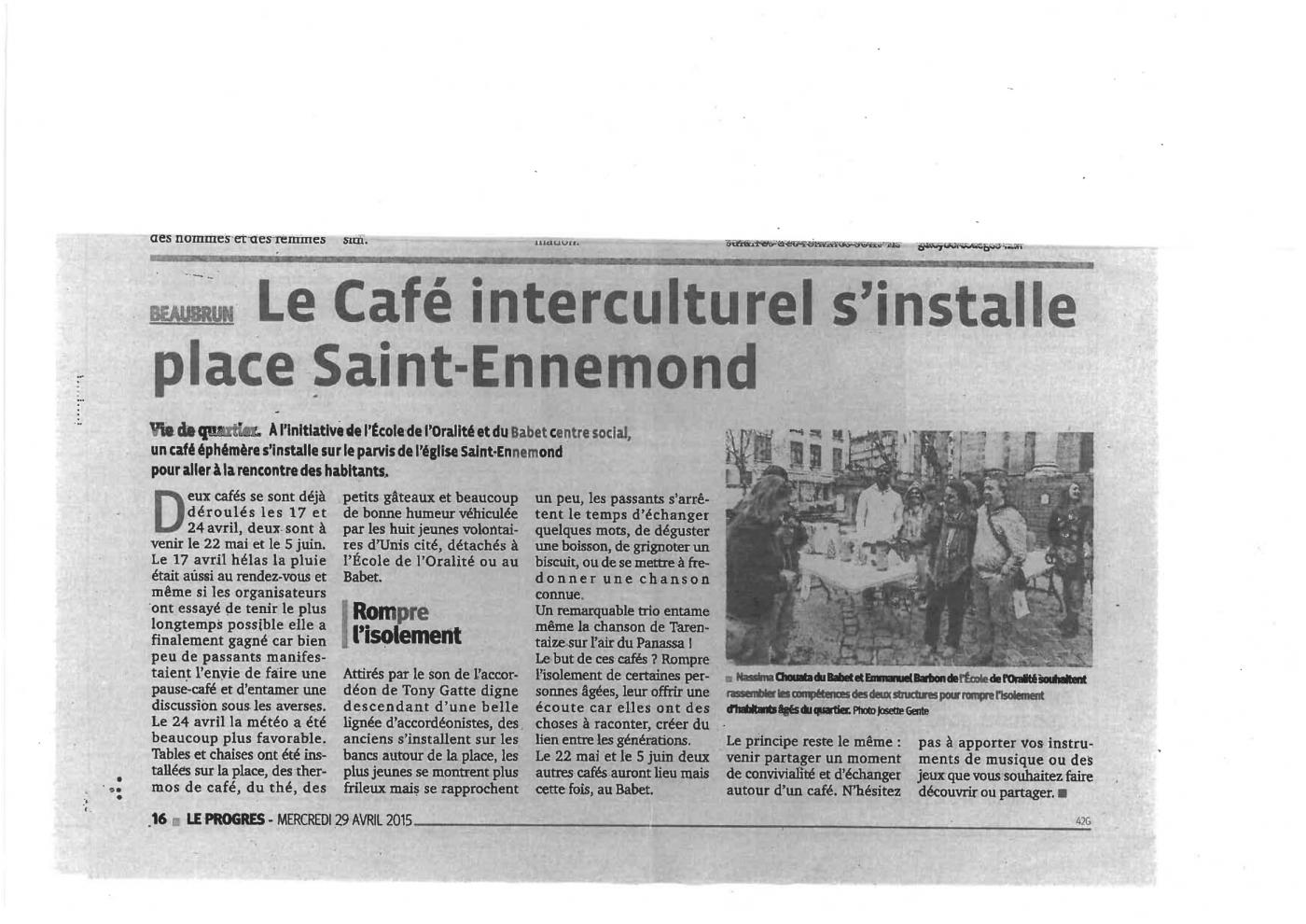article : Le Café interculturel s'installe place Saint-Ennemond