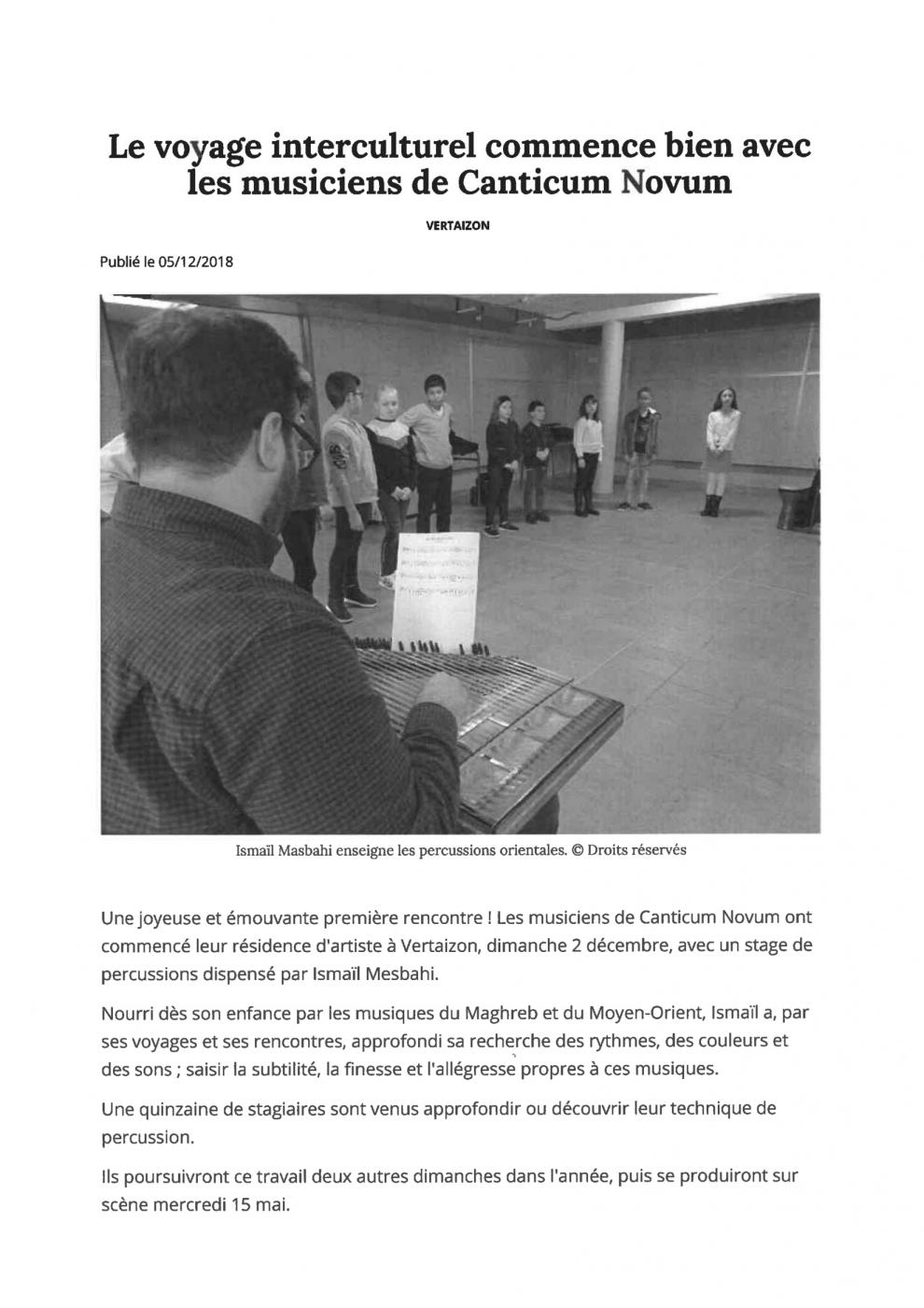 article : Le voyage interculturel commence bien avec les musiciens de Canticum Novum
