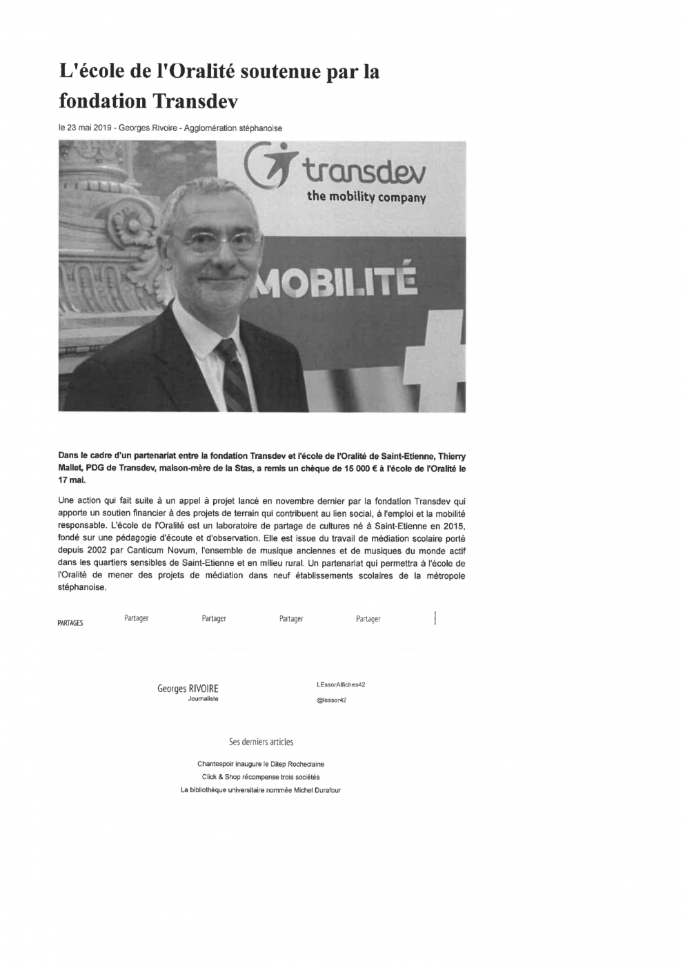 article : L'école de l'oralité soutenue par la fondation Transdev