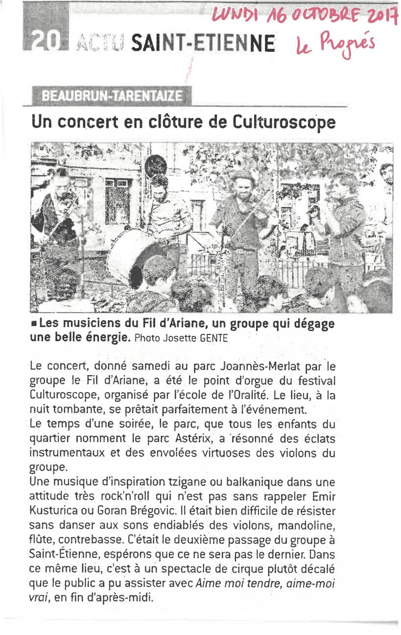 article : Un concert en clôture du Culturoscope