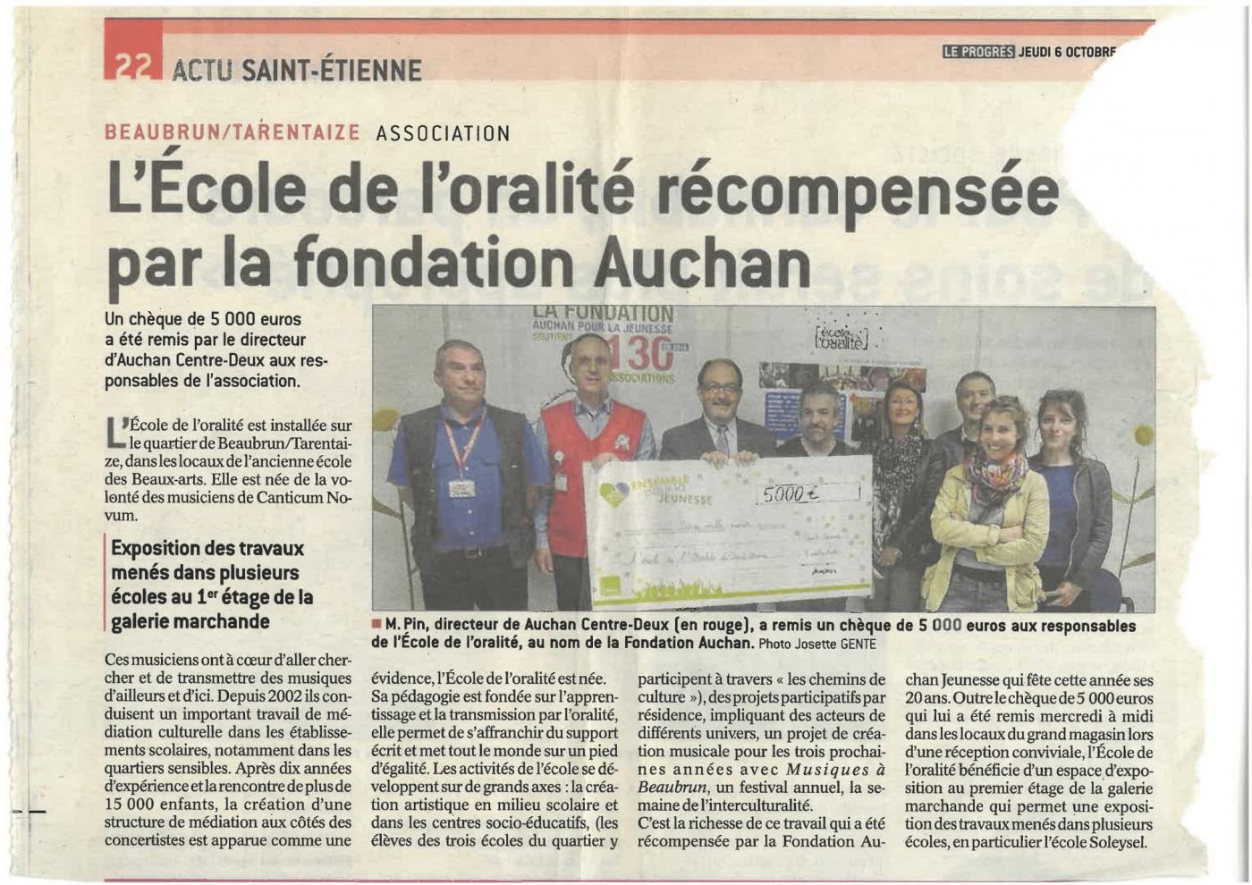 article : L'école de l'oralité récompensée par la fondation Auchan