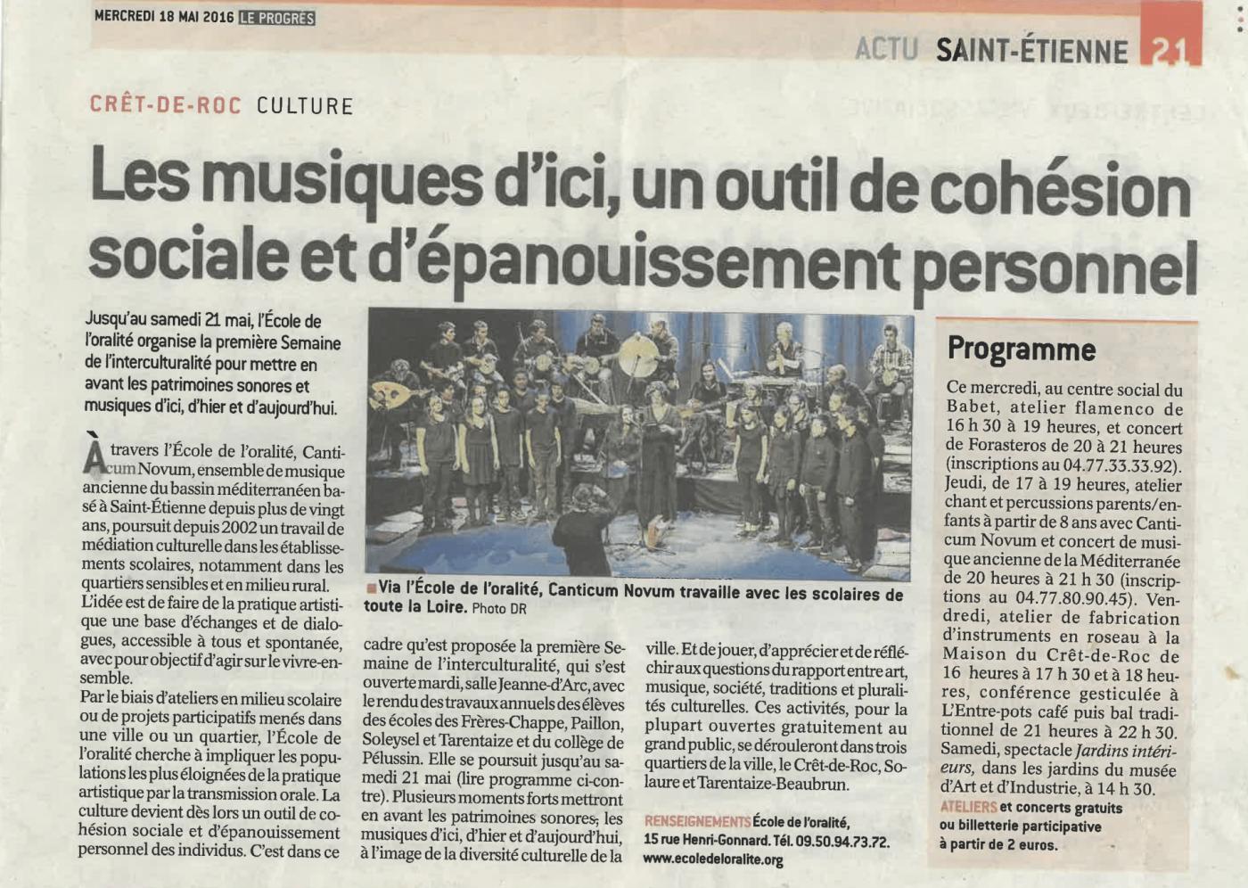 article : Les musiques d'ici, un outil de cohésion sociale et d'épanouissement personnel