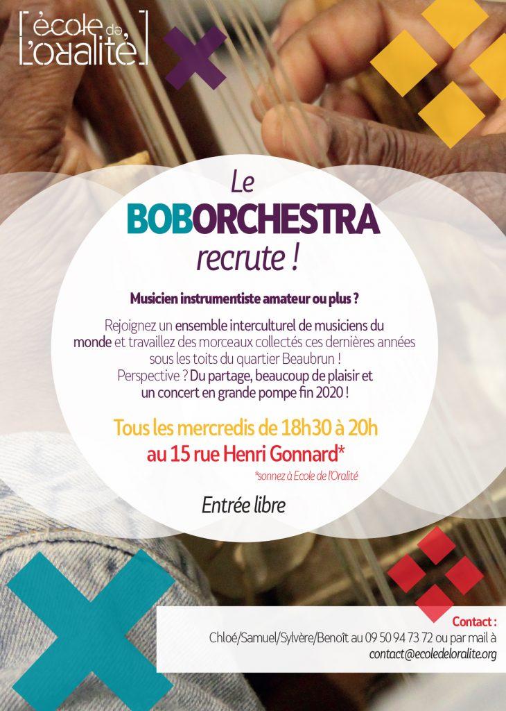 Le boborchestra recrute ! Musicien amateur ou plus ? Rejoignez un ensemble interculturel de musiciens du monde. Tous les mercredis de 18h30 à 20h au 15 rue Henri Gonnard.